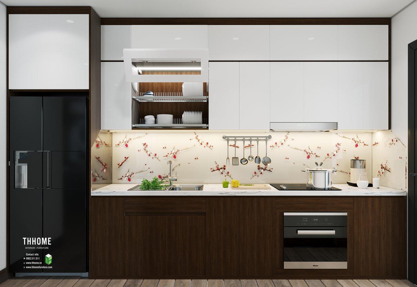 phòng bếp căn hộ có diện tích 86m2