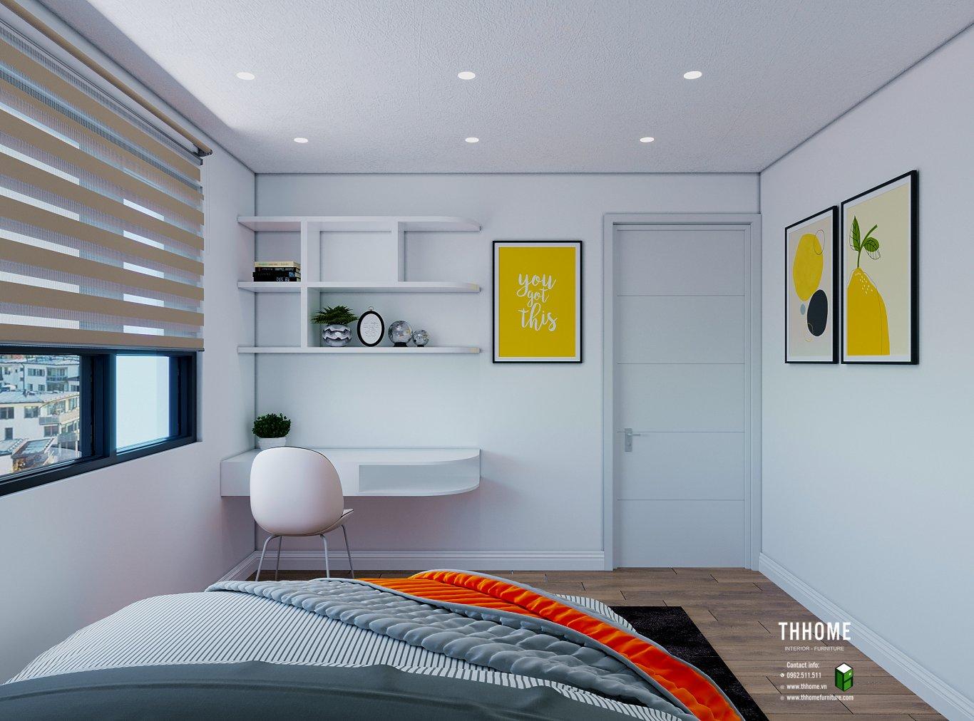 Căn hộ 86m2 với phòng ngủ con trai được thiết kế gọn gàng tiết kiệm diện tích