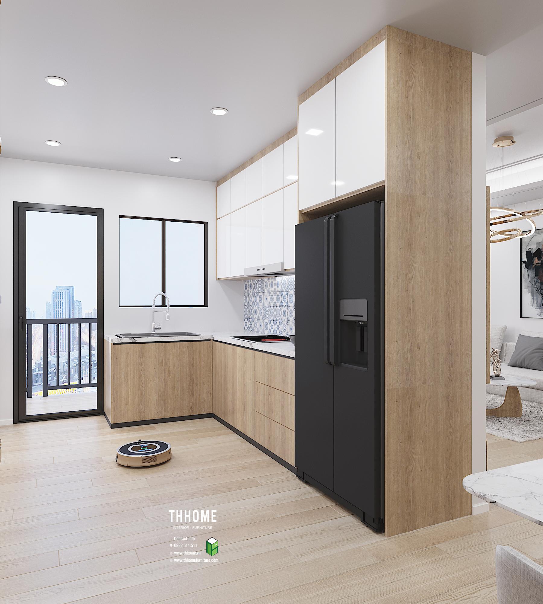 Khu vực bếp của căn hộ chung cư phố Vọng