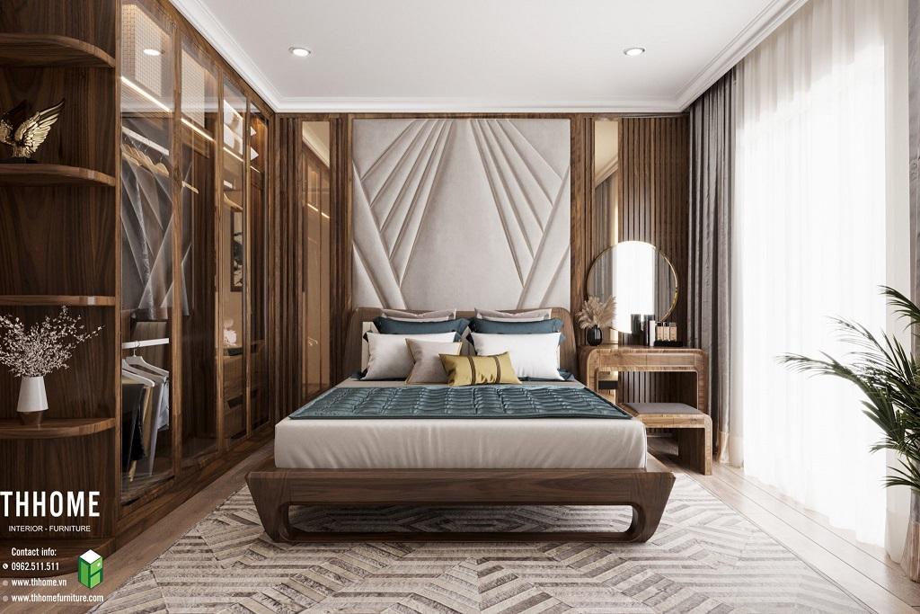 Phòng ngủ ấm áp, bình yên với những món đồ từ gỗ óc chó