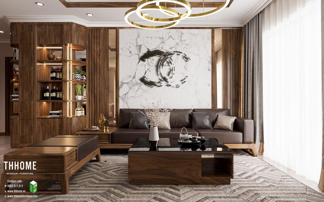Thiết kế không gian ấn tượng với thiết kế nội thất gỗ óc chó tinh tế, hài hòa