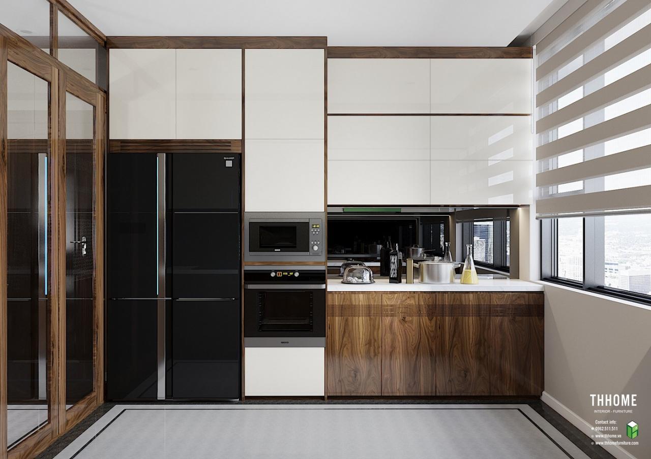 Phòng bếp tối giản nhưng vẫn rất độc đáo nhờ màu sắc của gỗ và thiết kế đơn giản, thông minh