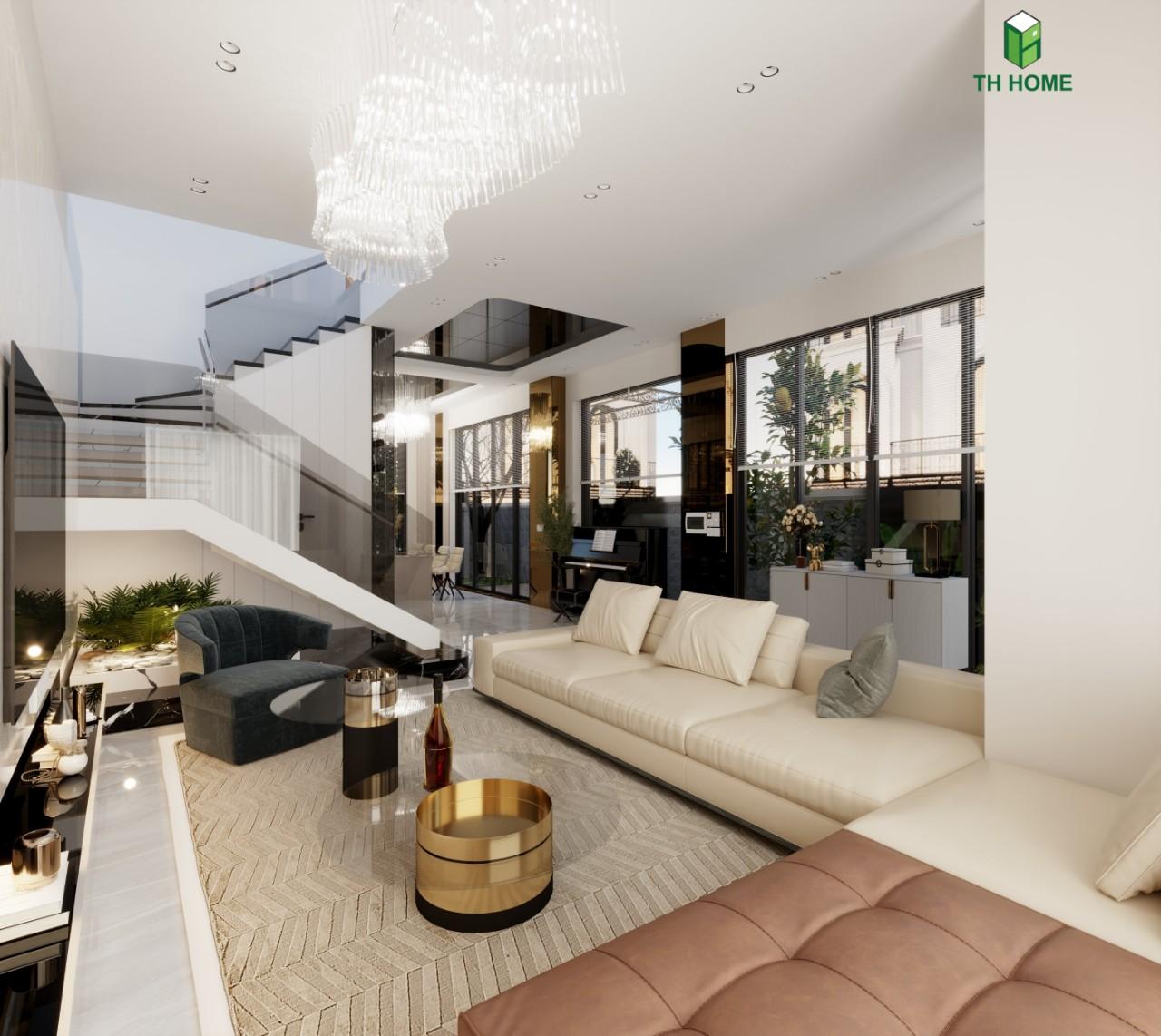 phòng khách hiện đại sang trọng tại biệt thự liền kề Vinhomes Ocean Park
