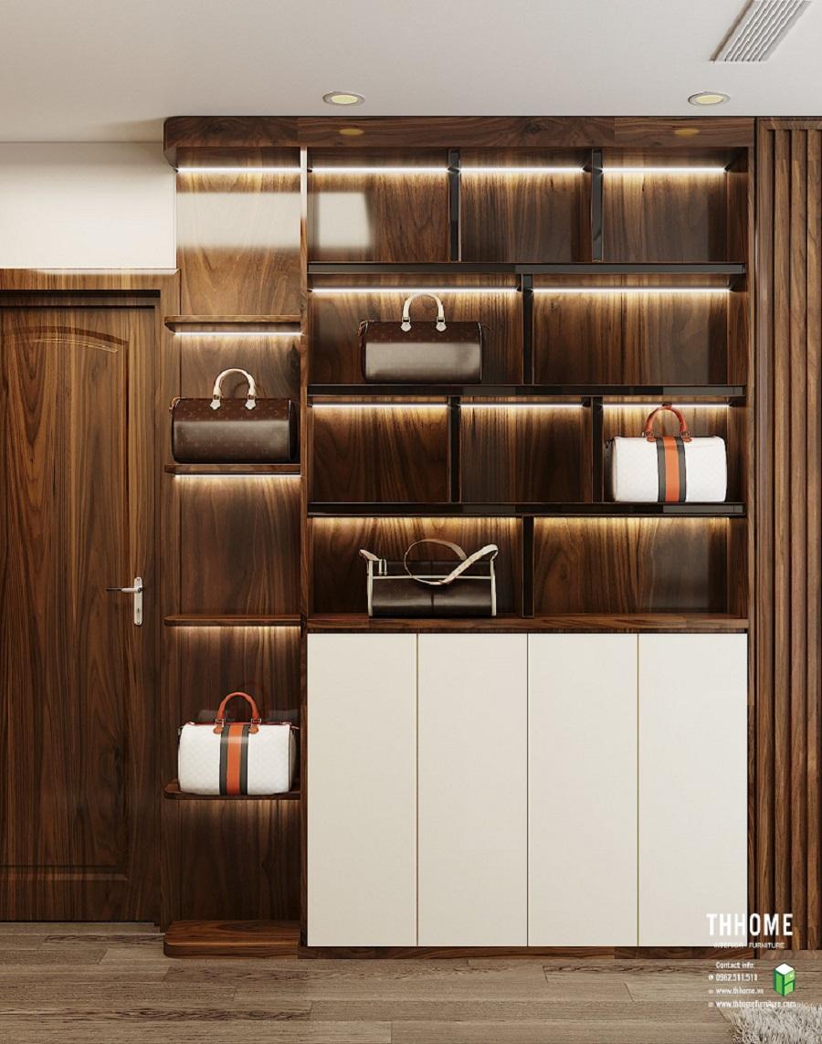 Tủ kệ trưng bày túi xách đầy sang trọng nhờ màu gỗ óc chó nguyên bản và thiết kế đơn giản mà thời thượng