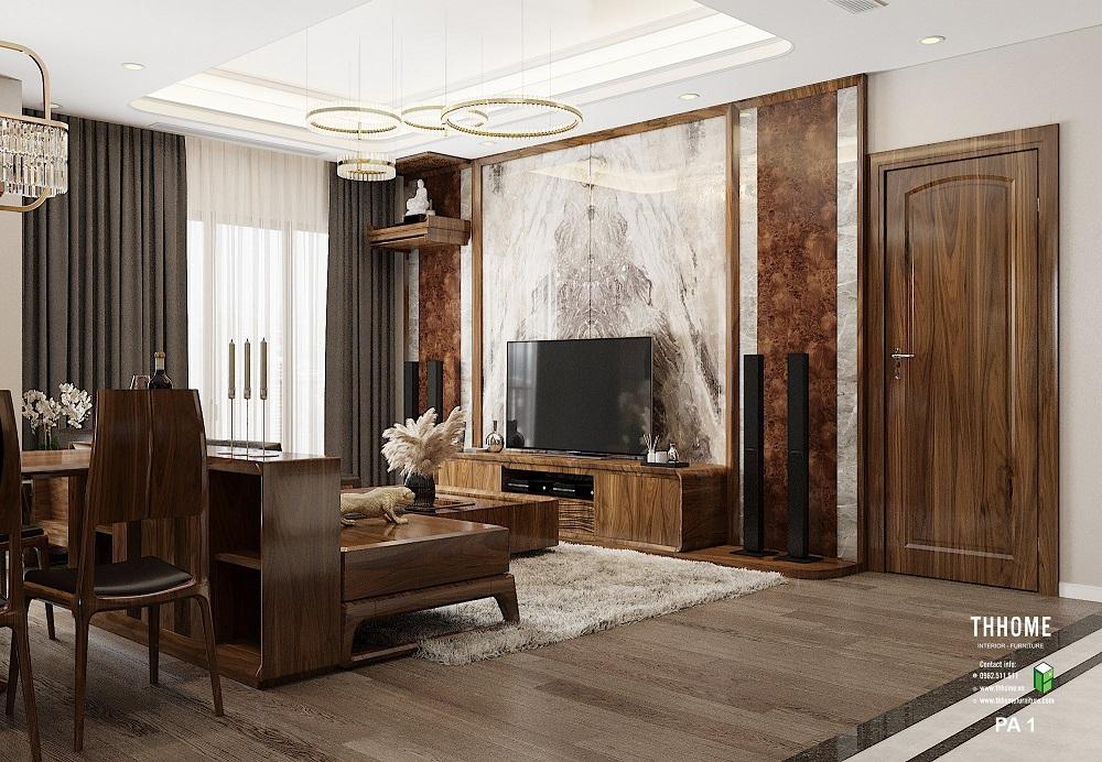 Phòng khách gây ấn tượng mạnh nhờ những món đồ nội thất từ chất liệu cao cấp, đắt tiền