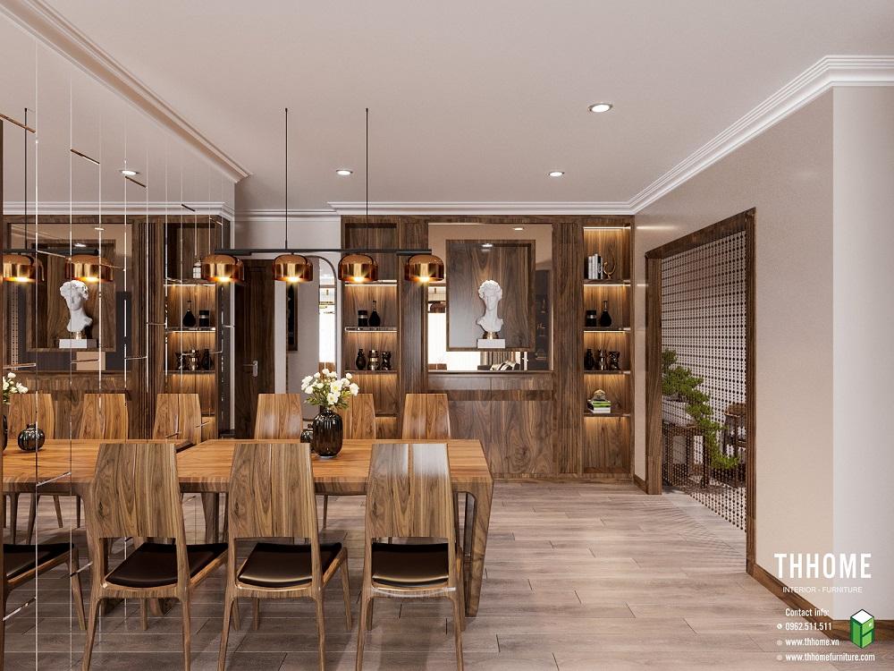 Không gian phòng ăn mở rộng nhờ bức tường được ghép từ những mảnh gương nhỏ