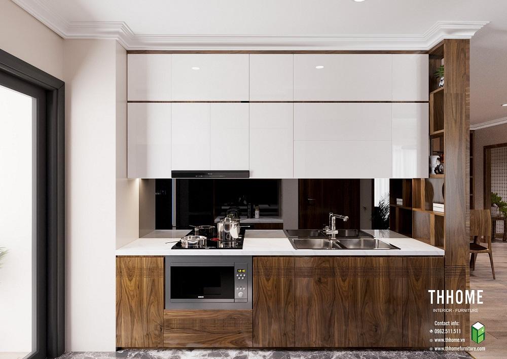 Phòng bếp gỗ óc chó đơn giản, tiện nghi