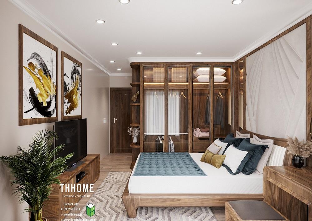 Phòng ngủ độc đáo và sang trọng với hệ thống nội thất gỗ óc chó cao cấp