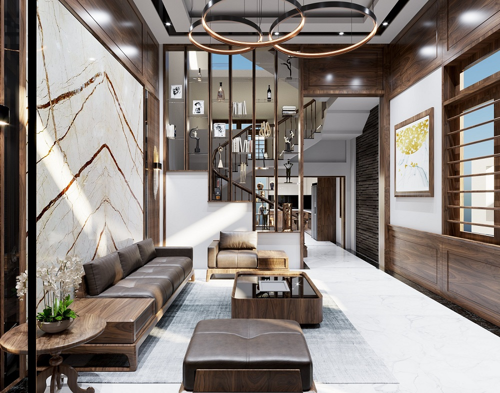 Điểm ấn tượng của không gian đến từ bộ sofa và hệ thống đèn chùm hiện đại