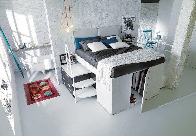 Mẫu giường ngủ thiết kế cao kết hợp với tủ quần áo, kệ để đồ đầy tiện ích