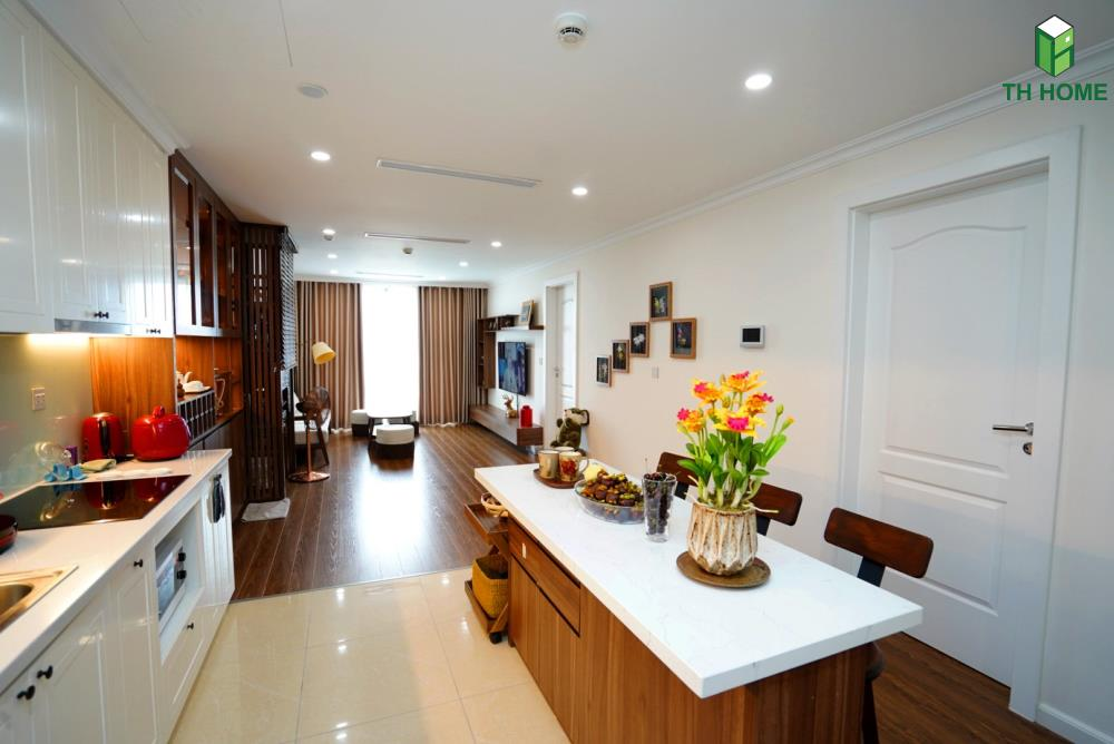 phòng bếp liên thông với phòng khách
