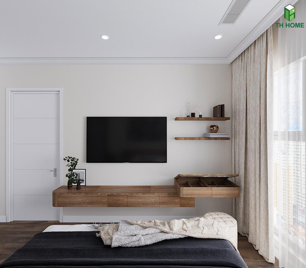 kệ tivi trong phòng ngủ căn hộ chung cư Sunshine Garden
