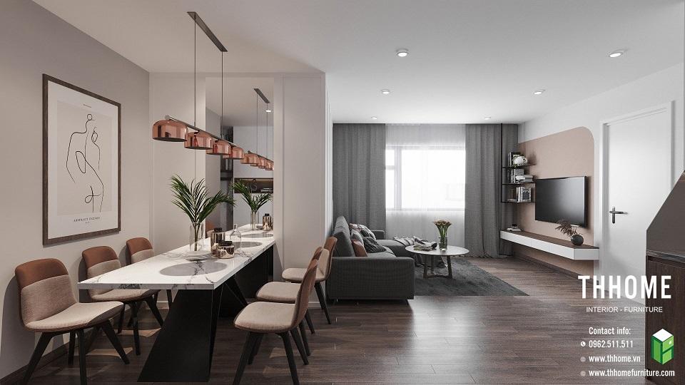 phòng bếp liên kết với phòng khách tại căn hộ chung cư Phú Thịnh