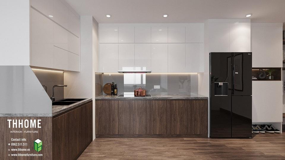 phòng bếp tiện nghi của căn hộ chung cư Phú Thịnh