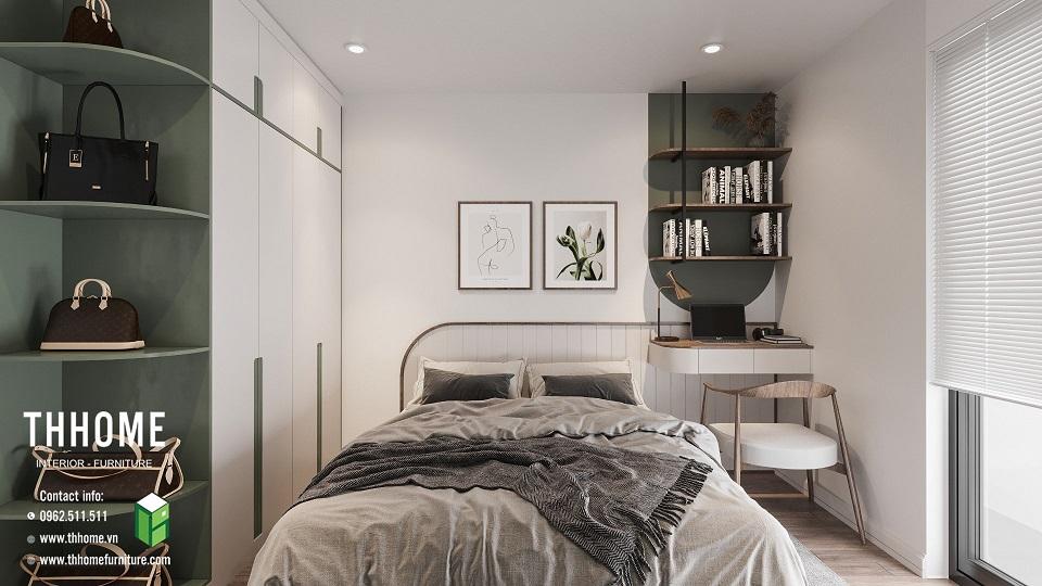 Phòng ngủ 1 trầm ấm của căn hộ chung cư Phú Thịnh
