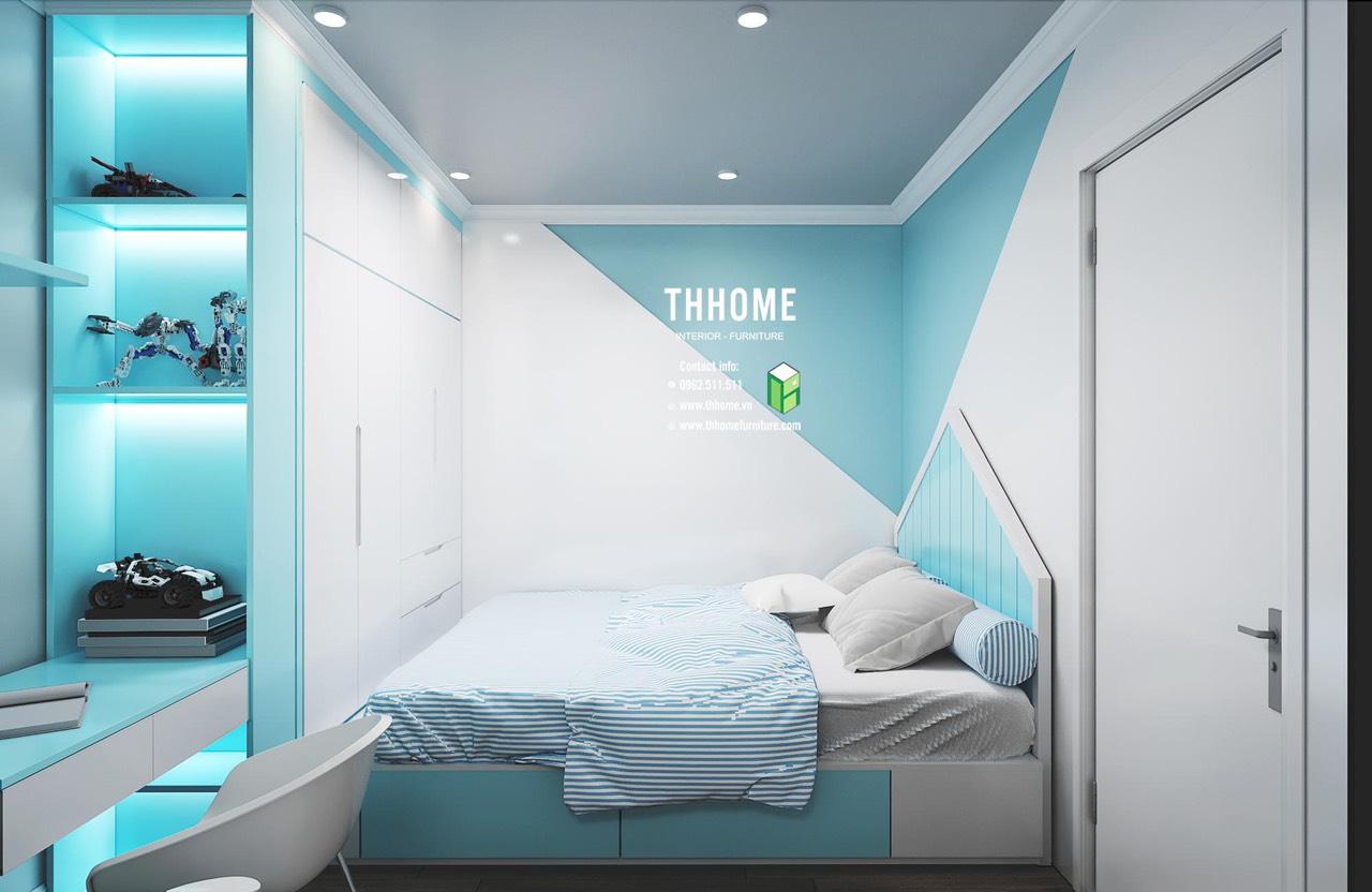 Thiết kế phòng ngủ trẻ em với màu sắc xanh dương hài hòa, nhẹ nhàng cho không gian thêm phần tươi mát