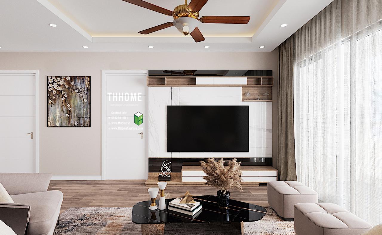 Nội thất phòng khách căn hộ 1703 CC Hoàng Huy