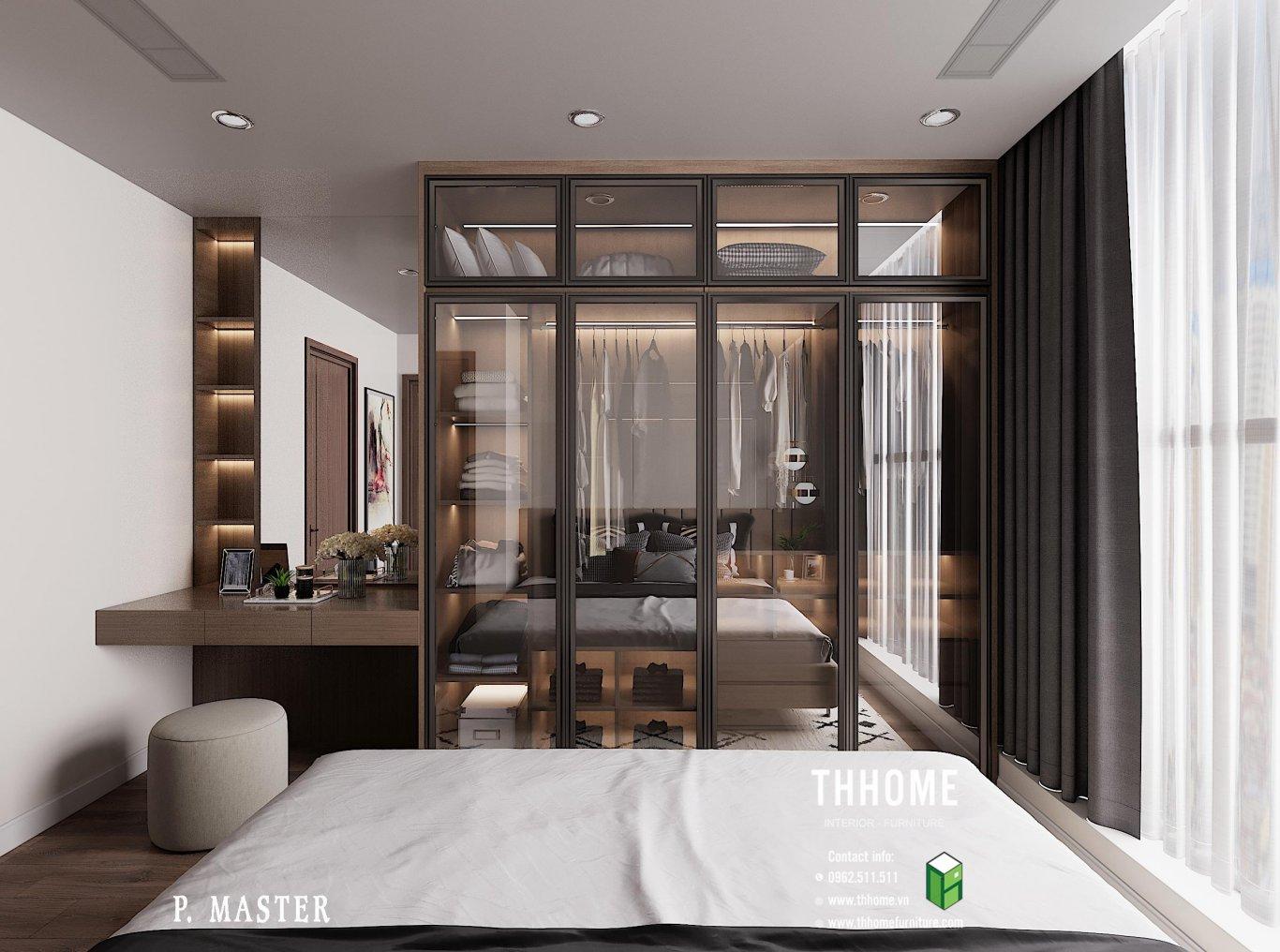 Tủ quần áo hiện đại, sang trọng cùng những đồ nội thất được thiết kế vừa vặn