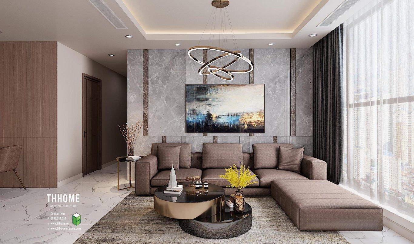 Khu vực phòng khách với cách bố trí cơ bản của phong cách hiện đại