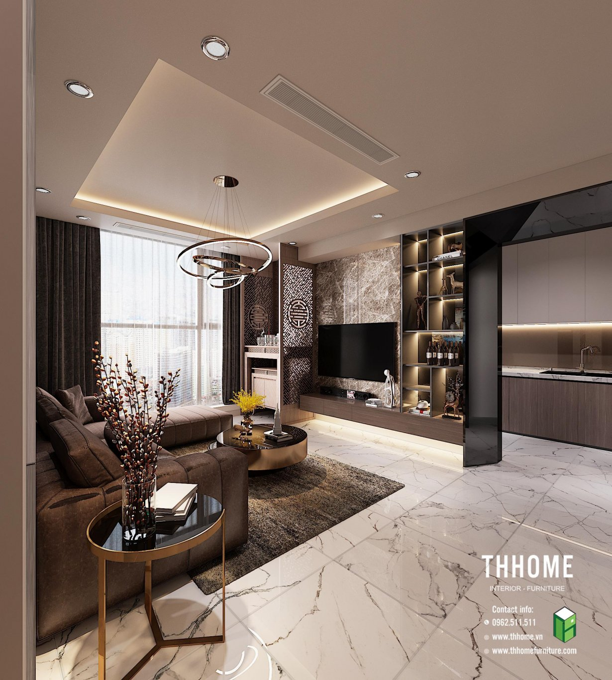 Phòng khách hiện đại với gam màu trầm tinh tế, sang trọng