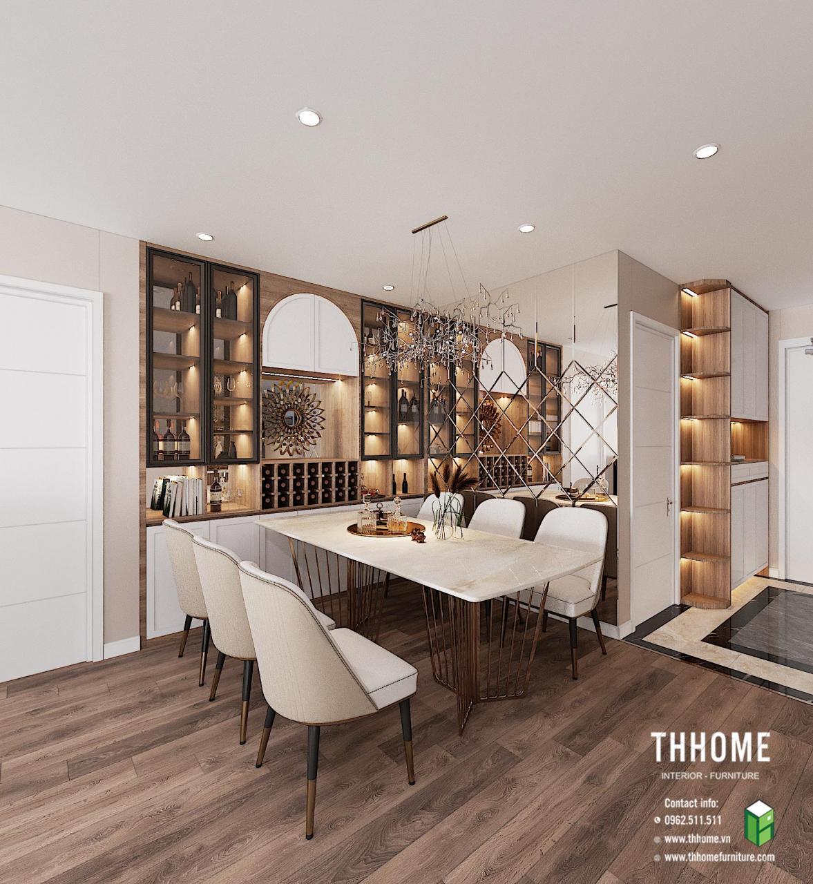 Khu vực bàn ăn căn hộ 1703 CC Hoàng Huy