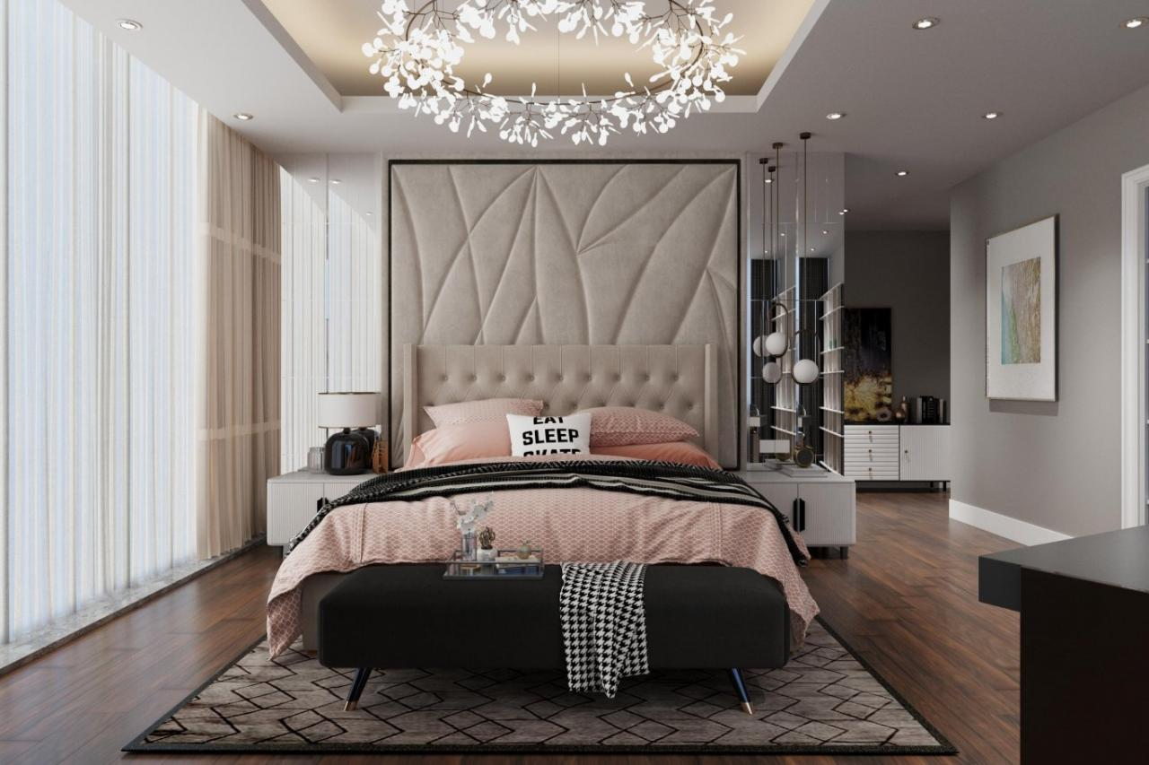 Một chiếc phòng ngủ có điểm nhấn 20% là màu hồng nhạt
