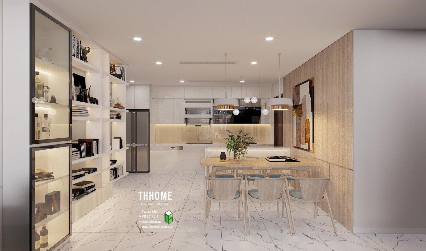 Phòng ăn với bàn ghế đơn giản, mộc mạc, luôn có cảm giác ngăn nắp và sạch sẽ