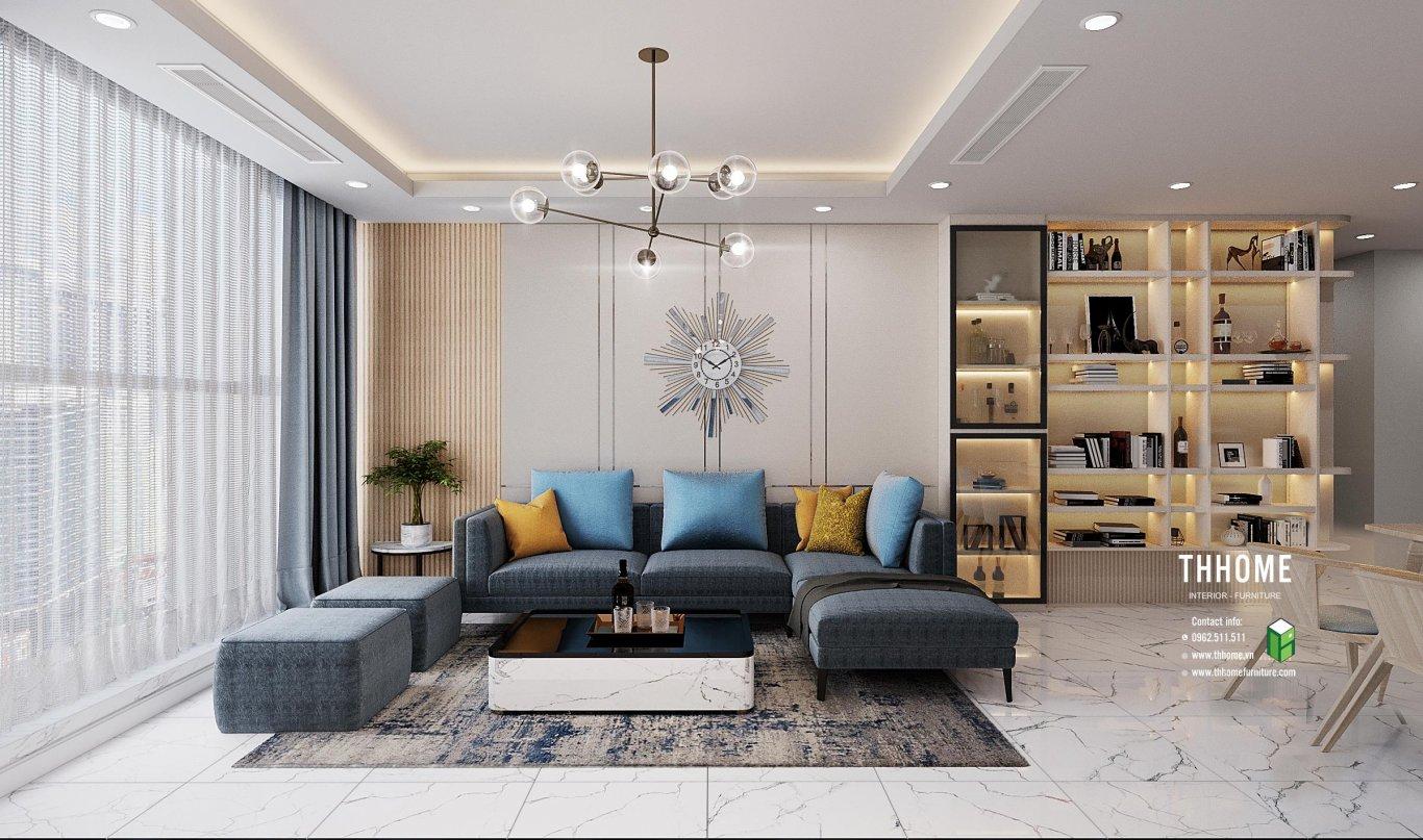 Sắc xanh của đồ vật tạo cảm giác tươi mát cho cả không gian phòng khách