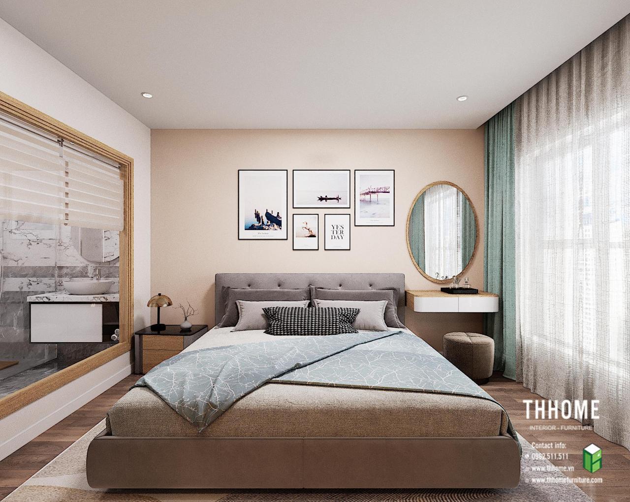 Phòng ngủ căn hộ 1703 CC Hoàng Huy