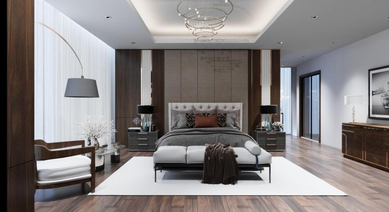 Thảm trải sàn màu tôn lên đường nét của nội thất phòng ngủ