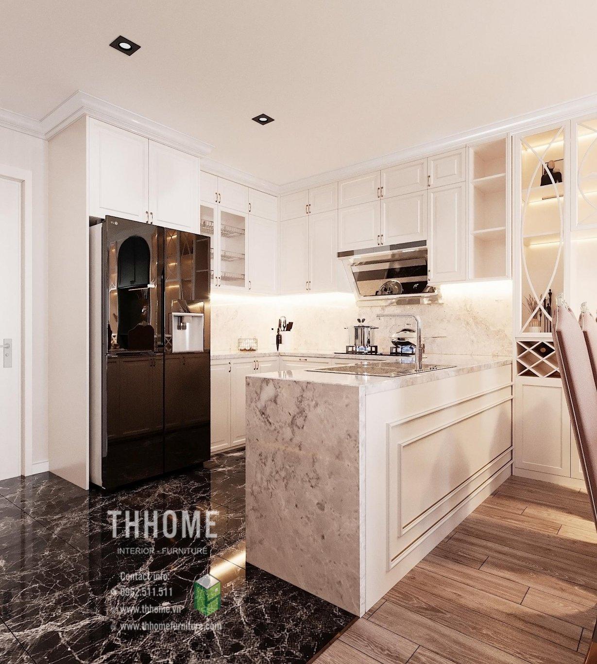 Phòng bếp thiết kế nội thất phong cách Tân cổ điển