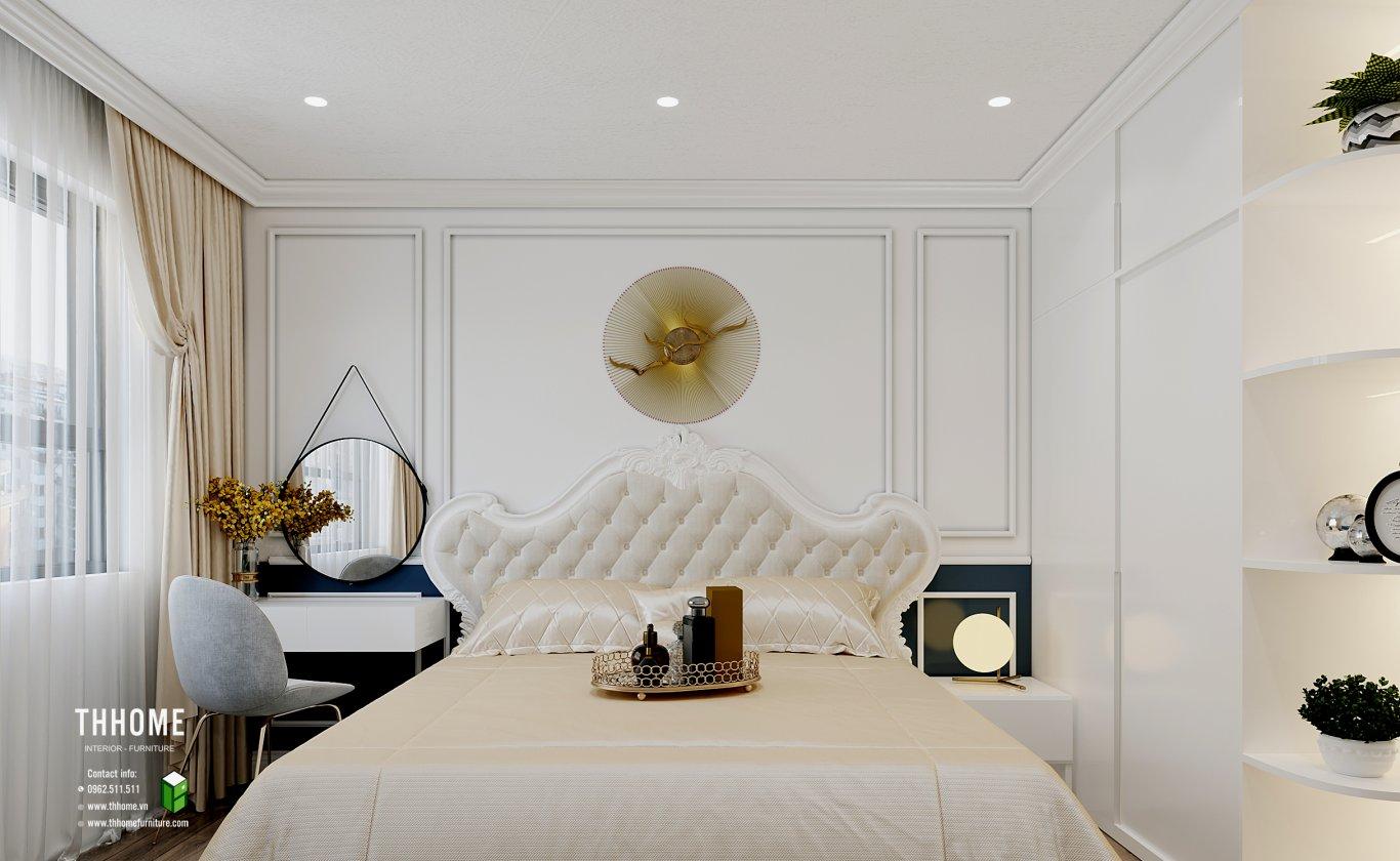 Phòng ngủ chính căn hộ 86m2 cực kì tinh tế với gam màu sang trọng
