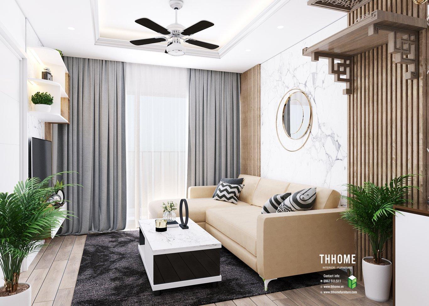 Sử dụng sofa góc L cho căn hộ 86m2