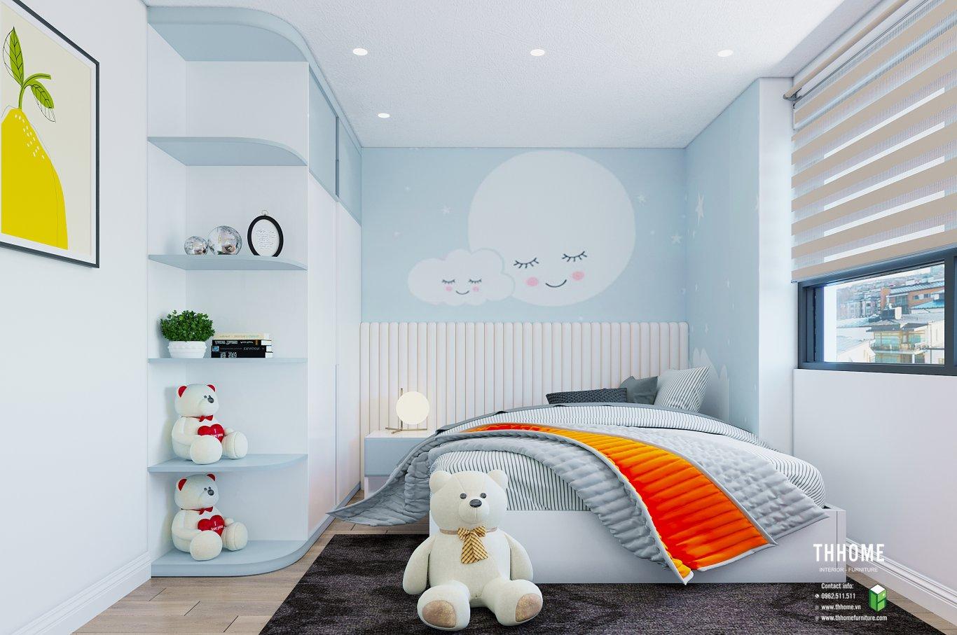 Phòng ngủ trẻ em nhẹ nhàng, tươi mát và đầy mơ mộng