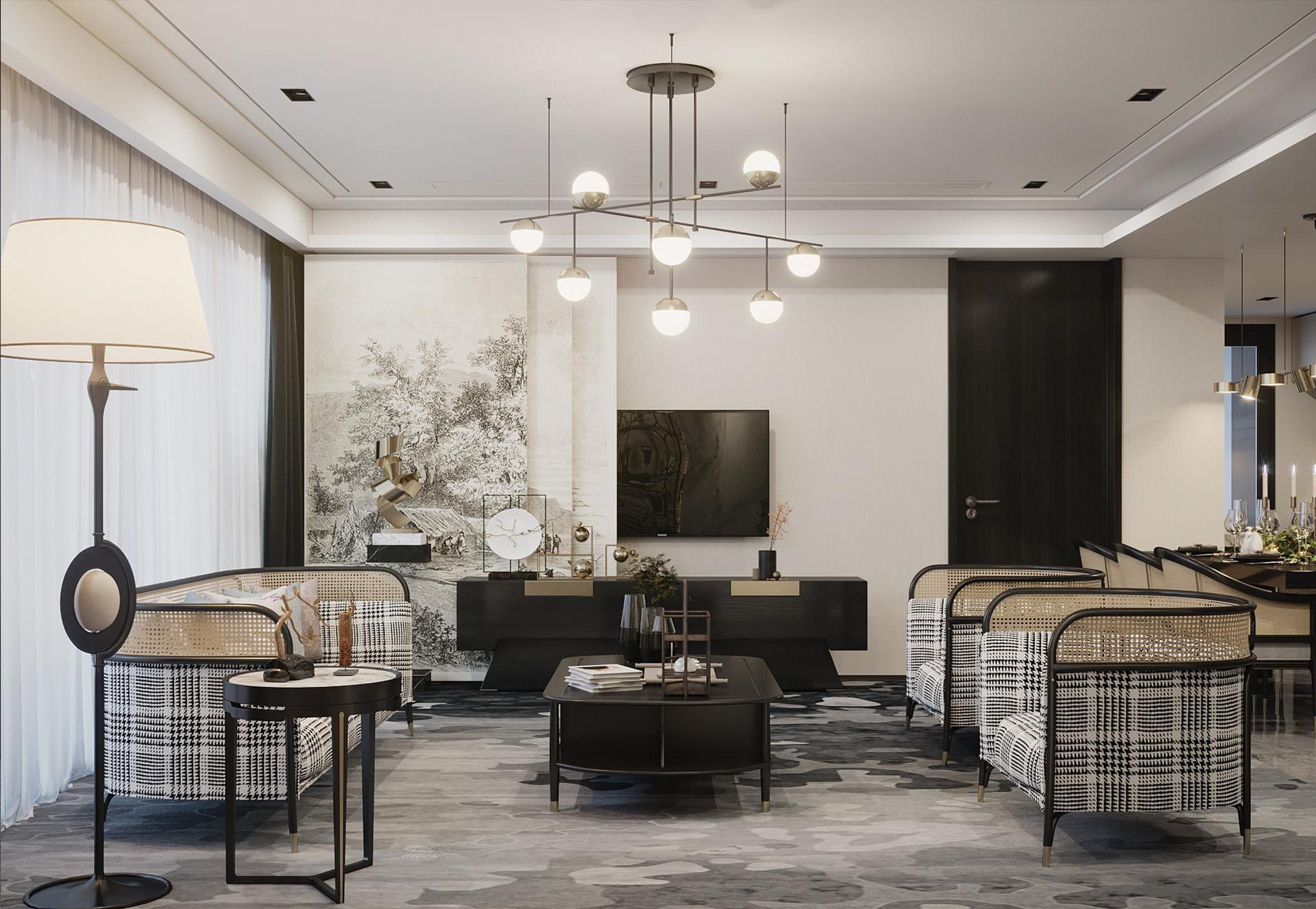 Mẫu thiết kế nội thất đẹp với nội thất hài hòa trong họa tiết và màu sắc
