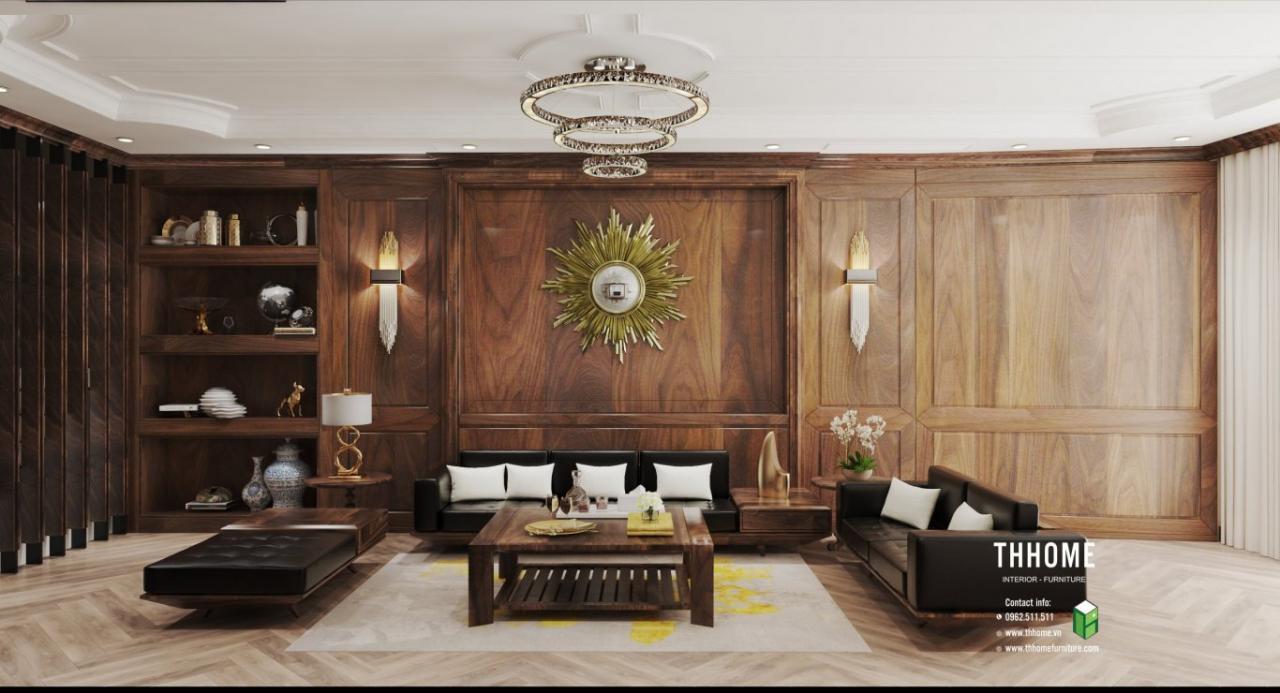 Không gian phòng khách với nội thất chủ yếu từ gỗ óc chó gợi sự đẳng cấp, cao sang