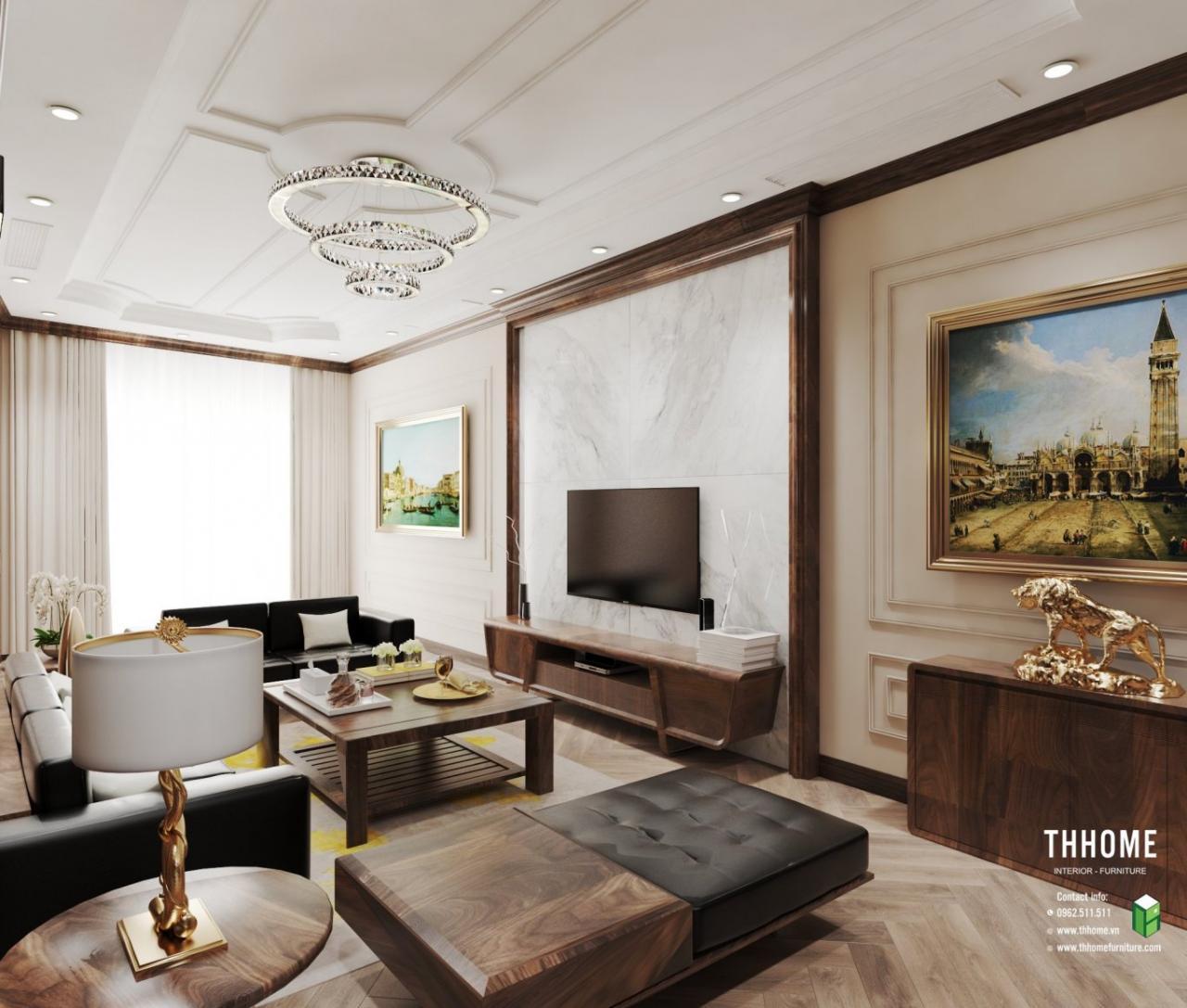 Nội thất phòng khách được bày trí hài hòa, đồ nội thất đắt giá, cao cấp.