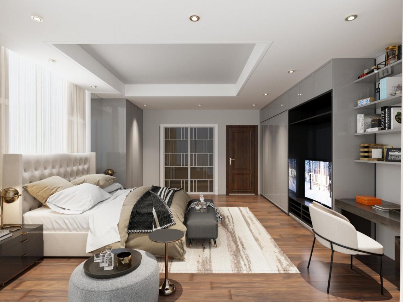 Mẫu phòng ngủ trong biệt thự tạo cảm giác thoải mái, không gian tối giản.