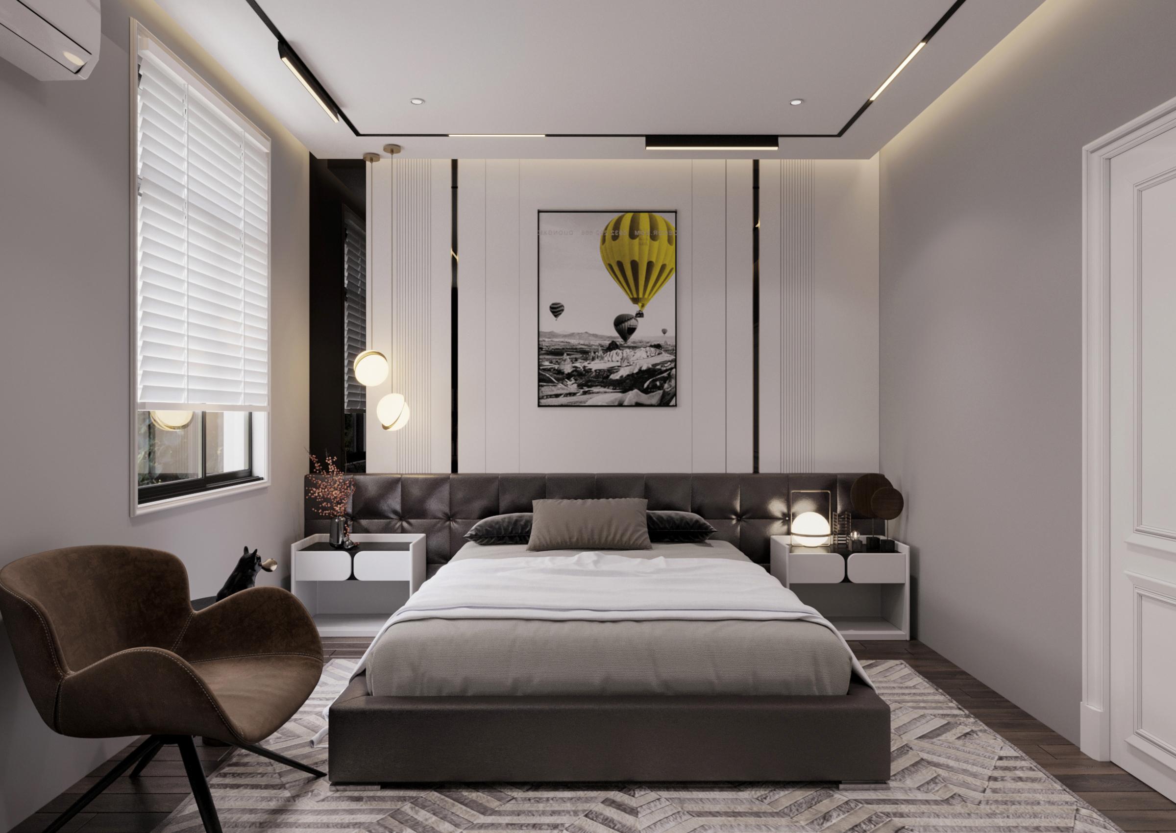 Phòng ngủ hiện đại, nhẹ nhàng với đồ nội thất đơn giản, đa dụng