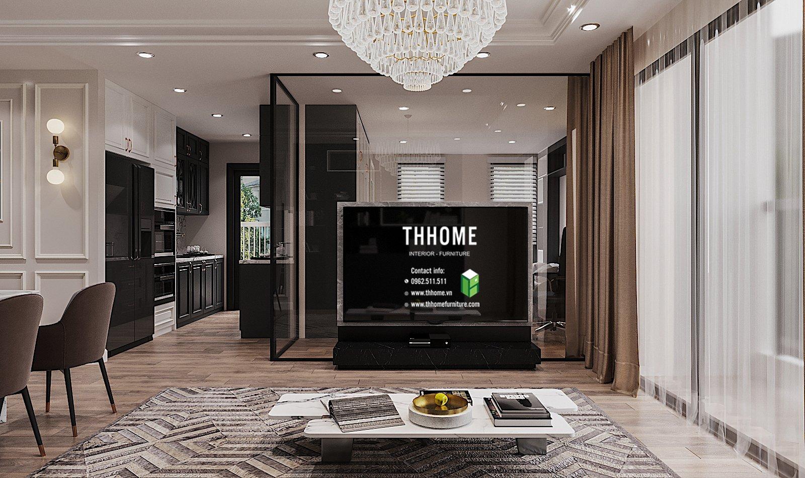 Kệ màu đen huyền bí kết hợp với hệ thống đèn thiết kế đẹp mắt khiến căn phòng trở nên nghệ thuật