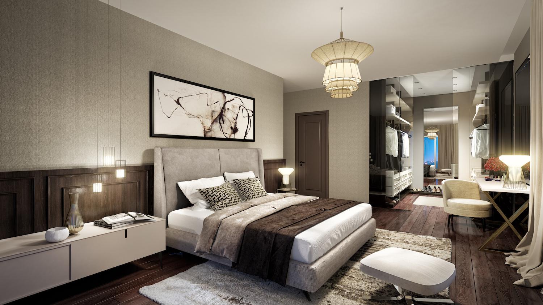 Phòng ngủ master với thiết kế tối giản