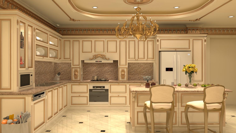 Phòng bếp gọn gàng, ánh sáng vừa đủ với độ tiện nghi và hiện đại nhưng vẫn giữ nét cổ điển, lãng mạn