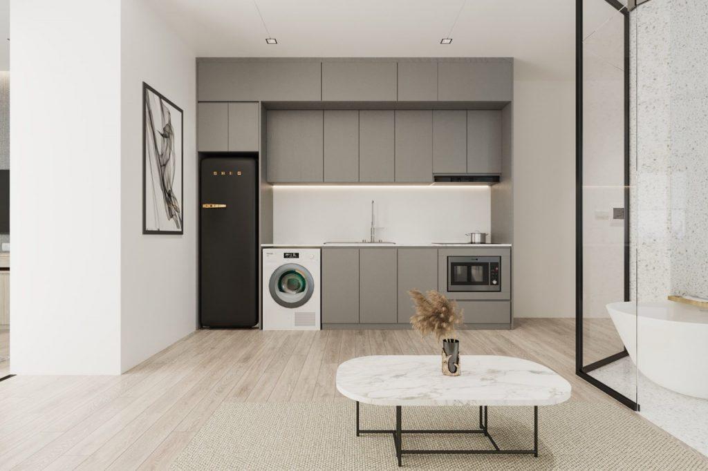 Không gian bếp gọn gàng, tiện nghi với thiết kế đơn giản