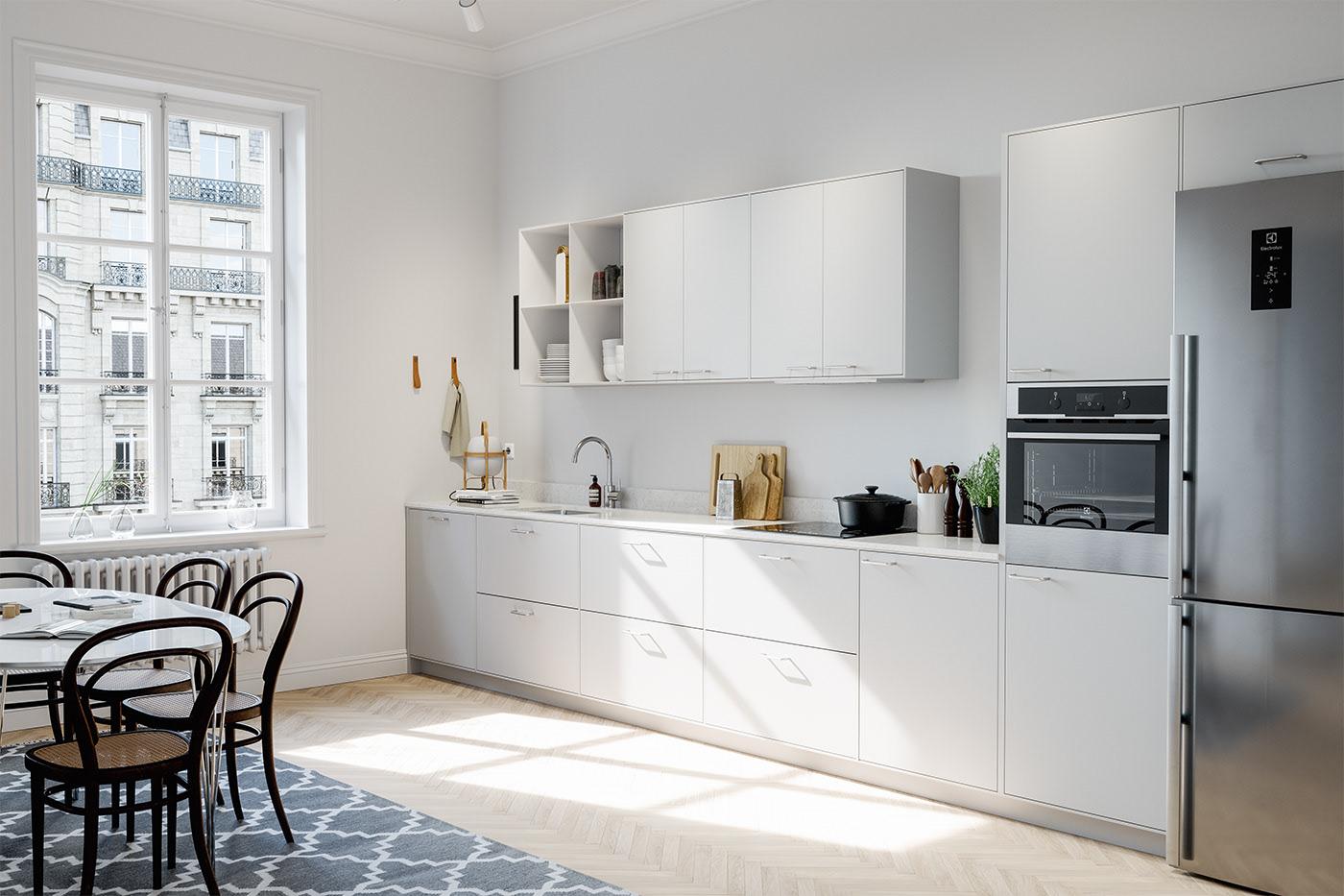 Căn bếp nhỏ với gam màu trắng tinh tế, nổi bật của phong cách Bắc Âu
