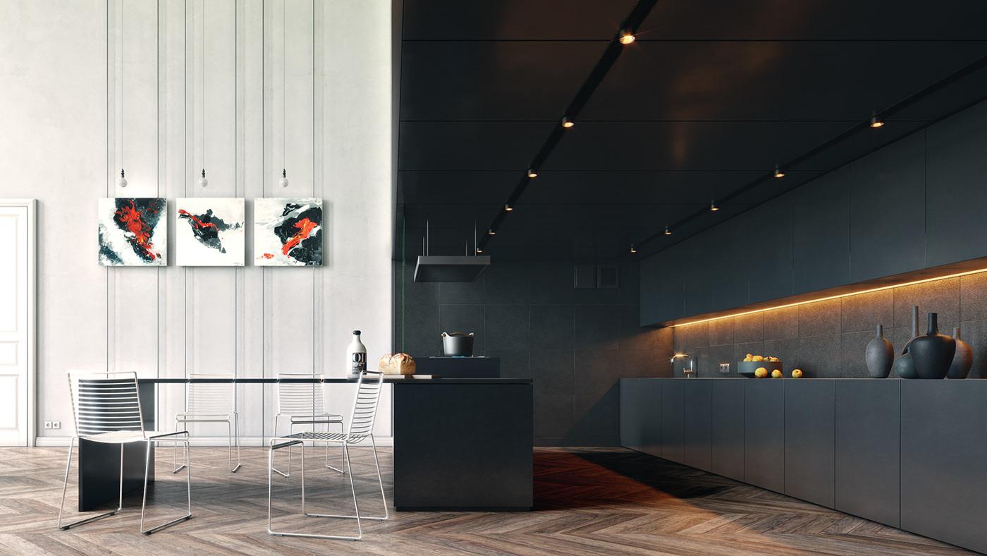 Khu bếp rộng rãi với các thiết bị nội thất hiện đại theo tone màu đen tối giản.