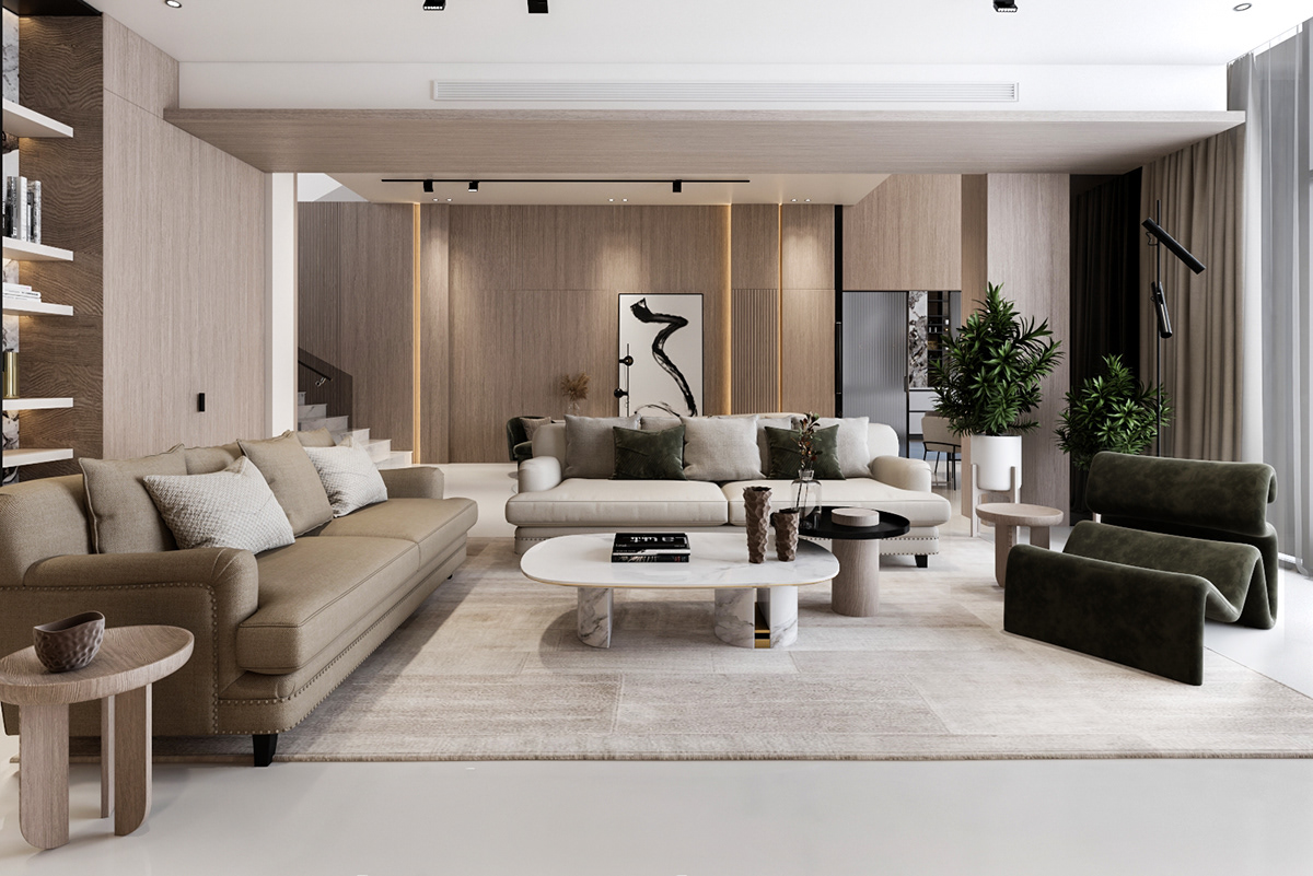 Thiết kế nội thất biệt thự đẹp với đồ nội thất đơn giản