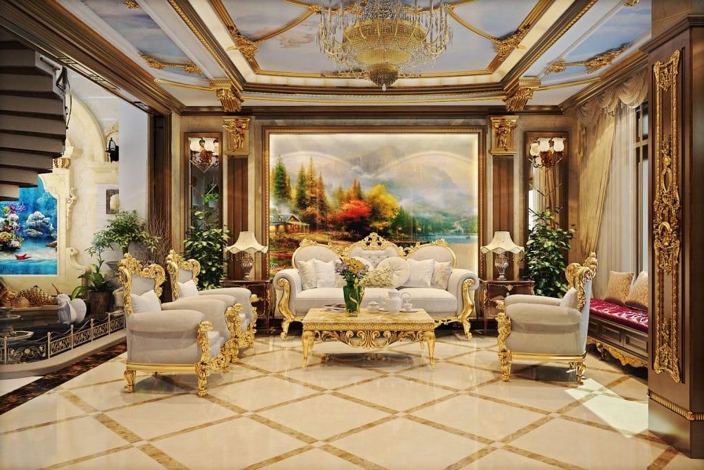 Sự đối xứng và cân bằng rõ nét, dễ dàng để nhận thấy trong nội thất cổ điển Châu Âu