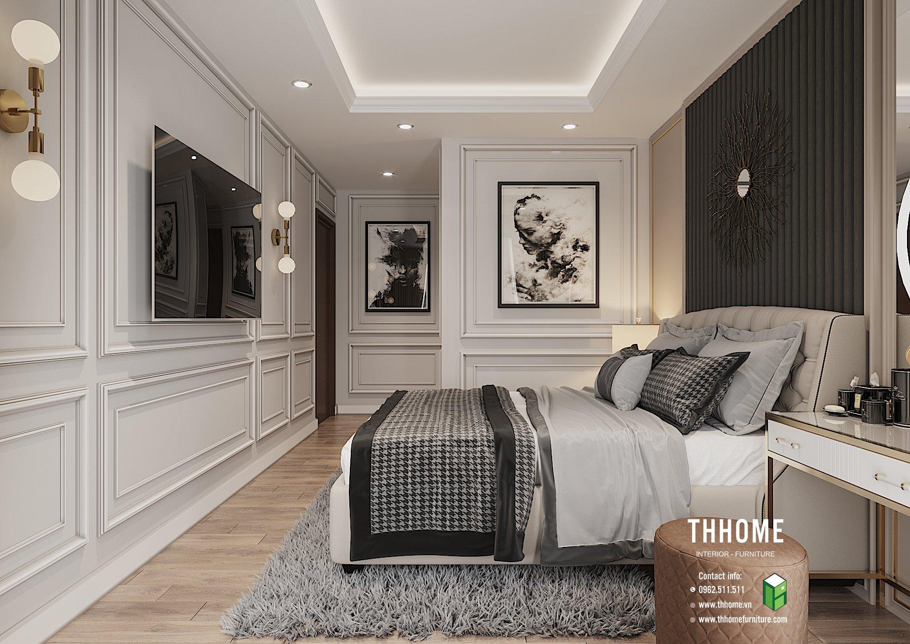 Phòng ngủ thiết kế thông minh, không gian mang nét nghệ thuật đương đại