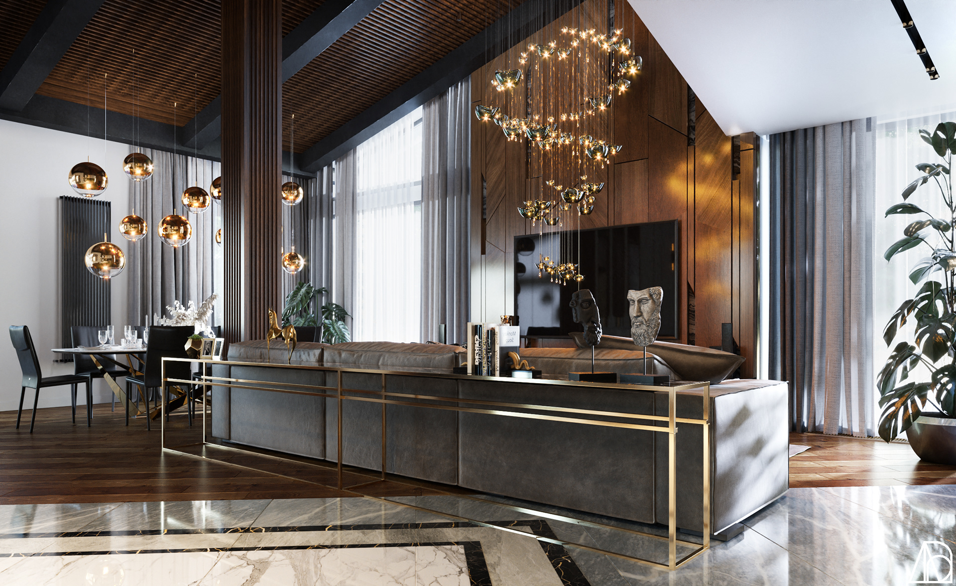 Phòng khách với phong cách nổi bật và không gian nghệ thuật hoàn hảo.