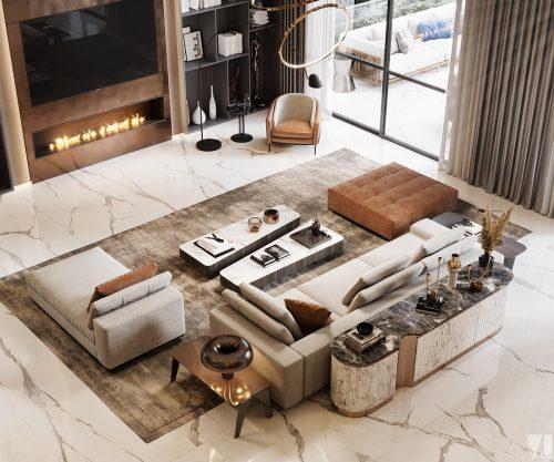 Căn hộ duplex với không gian phòng khách sang trọng.